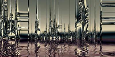 Futurism Architecture Wall Art - Digital Art - City Of Chrome by Sharon Lisa Clarke