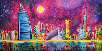 City Of Dubai Pop Art Original Luxe Life Painting By Madart Art Print by Megan Duncanson