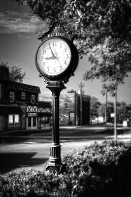 Photograph - City Of Ellijay Clock In Black And White by Greg Mimbs