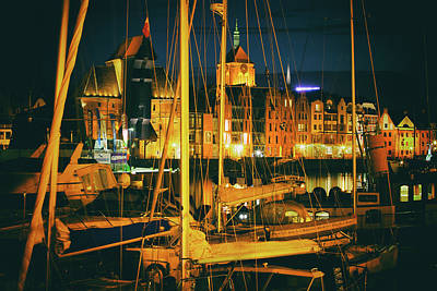 Photograph - City Of Gdansk In Poland By Night by Artur Bogacki