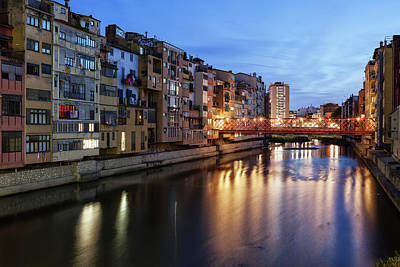 Photograph - City Of Girona At Twilight In Spain by Artur Bogacki