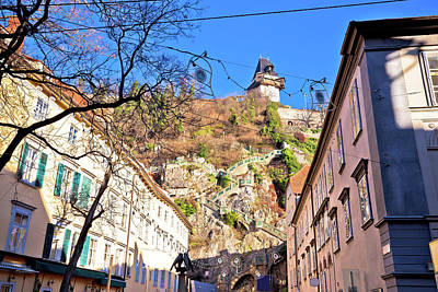 Photograph - City Of Graz Street And Stairway To Uhrturm View by Brch Photography