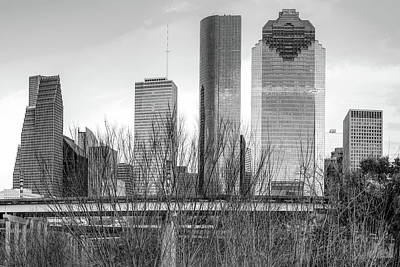 Photograph - City Of Houston Texas - Black And White Skyline by Gregory Ballos