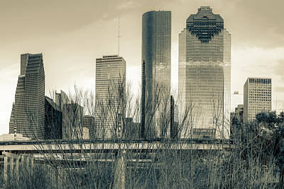 Photograph - City Of Houston Texas - Sepia Skyline by Gregory Ballos