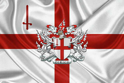 Digital Art - City Of London - Coat Of Arms Over City Of London Flag by Serge Averbukh