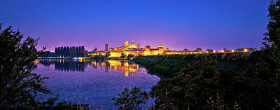 Photograph - City Of Mantova Skyline Evening Panoramic View by Brch Photography
