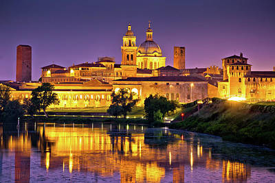 Photograph - City Of Mantova Skyline Evening View by Brch Photography