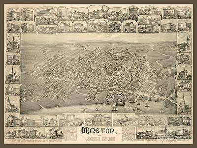 City Of Moncton New Brunswick Vintage Map Art Print by Pd