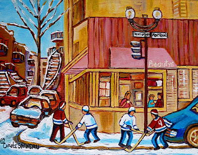 Kids Playing Hockey Painting - City Of Montreal St. Urbain And Mont Royal Beautys With Hockey by Carole Spandau