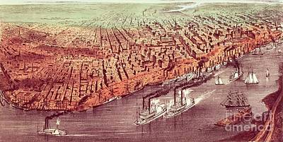 M.j Painting - City Of New Orleans by Currier and Ives