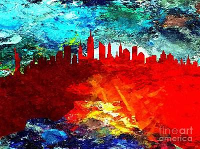 New York City Skyline Mixed Media - City Of New York Grunge by Daniel Janda