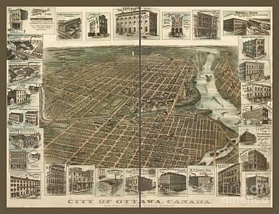 City Of Ottawa Vintage Map Art Print by Pd