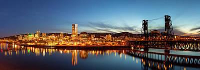 City Of Portland Skyline Blue Hour Panorama Art Print by David Gn