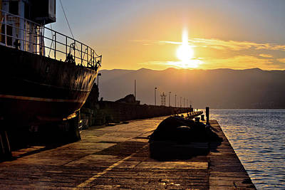 Photograph - City Of Rijeka Breakwater At Sunset View by Brch Photography