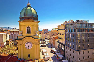 Photograph - City Of Rijeka Clock Tower And Central Square by Brch Photography