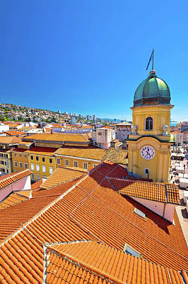 Photograph - City Of Rijeka Clock Tower And Central Square Vertical View by Brch Photography