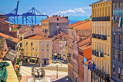 Photograph - City Of Rijeka Korzo Square And Harbour Cranes Aerial View by Brch Photography