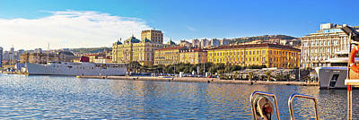 Photograph - City Of Rijeka Waterfront Boats And Architecture Panoramic View by Brch Photography