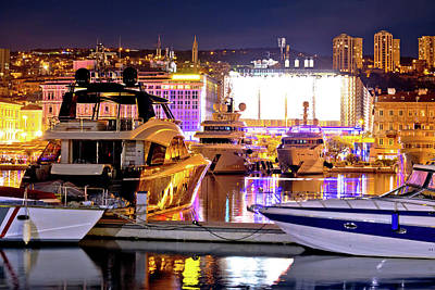 Photograph - City Of Rijeka Yachting Waterfront Evening View by Brch Photography