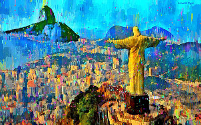 Rio Digital Art - City Of Rio De Janeiro - Da by Leonardo Digenio