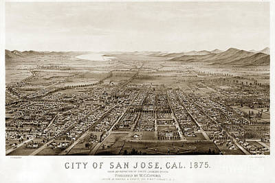 Photograph - City Of San Jose County Of Santa Clara 1875 by California Views Mr Pat Hathaway Archives
