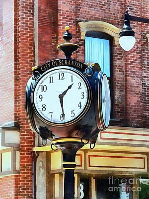 Photograph - City Of Scranton - Street Clock - Brick by Janine Riley
