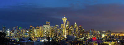Photograph - City Of Seattle During Evening Blue Hour Panorama by David Gn