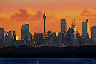 Photograph - City Of Sydney And Orange Clouds by Miroslava Jurcik
