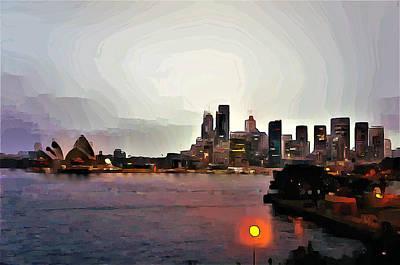 Sydney Skyline Digital Art - City Of Sydney Skyline by Giro Tavitian