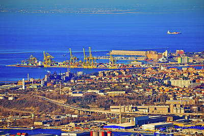 Photograph - City Of Trieste Aerial View Of Industrial Zone And Harbor by Brch Photography