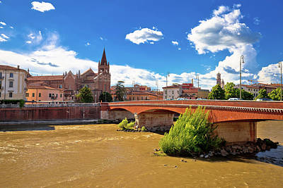 Photograph - City Of Verona Adige River And San Fermo Maggiore Church by Brch Photography
