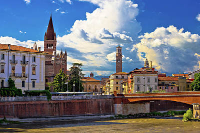 Photograph - City Of Verona Adige River San Fermo Maggiore Church And Lambert by Brch Photography