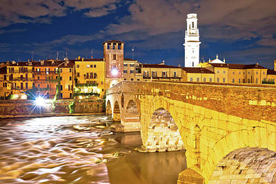 Photograph - City Of Verona Adige Riverfront Evening View by Brch Photography