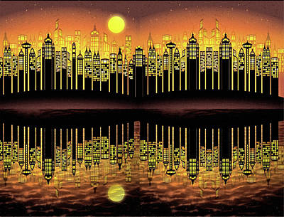Digital Art - City On The River by Ericamaxine Price