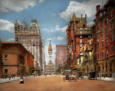 Stratford City Photograph - City - Pa Philadelphia - Broad Street 1905 by Mike Savad