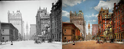 Photograph - City - Pa Philadelphia - Broad Street 1905 - Side By Side by Mike Savad