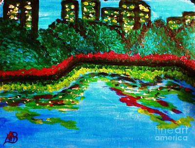Painting - City Park At Night by Marie Bulger