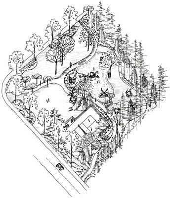 City Park Axonometric Drawing Original by Elizabeth Thorstenson