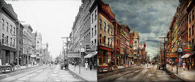 City - Poughkeepsie Ny - The Ever Changing Market Place 1906 - Side By Side Art Print by Mike Savad