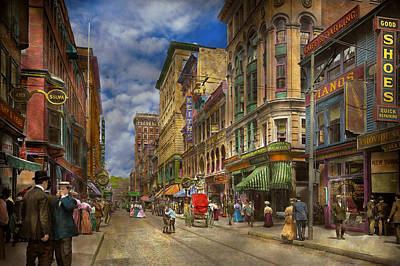 City - Providence Ri - Living In The City 1906 Print by Mike Savad