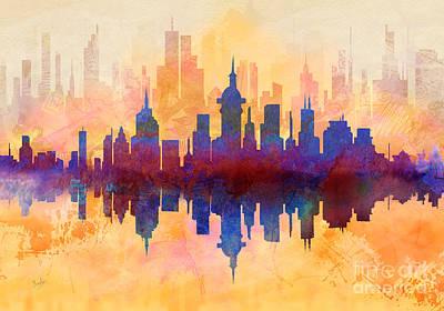 Abstract Digital Mixed Media - City Pulse by Bedros Awak