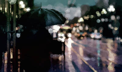 Mixed Media - City Rain by Susan Maxwell Schmidt