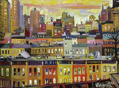 Birdseye View Painting - City Roofs by Natalia Bessonova