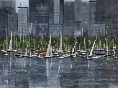 Painting - City Sailboats by Dick Bourgault