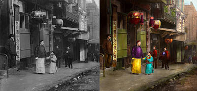 City - San Francisco - Chinatown - Visiting The Commoners 1896-06 - Side By Side Art Print by Mike Savad