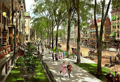 City - Saratoga Ny -  I Would Love To Be On Broadway 1915 Art Print by Mike Savad