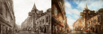 Burgh Photograph - City - Scotland - Tolbooth Operator 1865 - Side By Side by Mike Savad