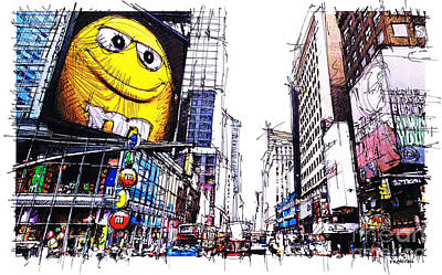 Home Decoration Mixed Media - City Sketch, 7th Ave Broadway Manhattan, Yellow Mm by Pablo Franchi