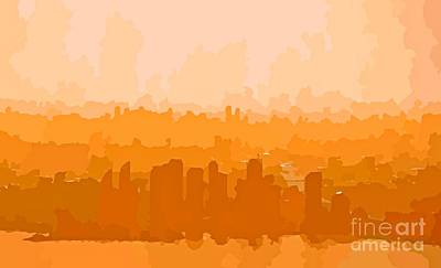 Aerial Perspective Painting - City Skyline Abstracts In Warm Colors by John Malone