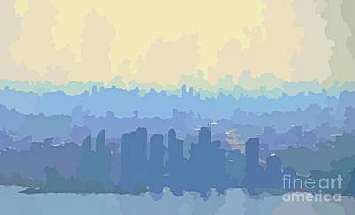 Aerial Perspective Painting - City Skyline Abstracts by John Malone